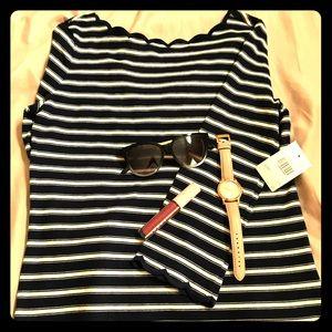 NWT Kate Spade Stripe Scallop Knit Top